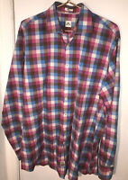 Peter Millar Mens Blue Plaid Button Front Dress Long Sleeve Shirt Large Tall