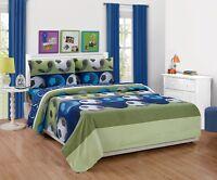 Fancy Linen Boys 4pc Full Size Sheet Set Soccer Blue Green White Black New