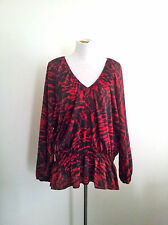 Classic Style! Michael Kors (NY) size 3X red & black polyester long sleeved top