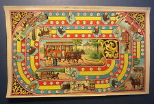 Old c.1890 Antique French Game PRINT - TRAMWAY - Horse Drawn RAILWAY