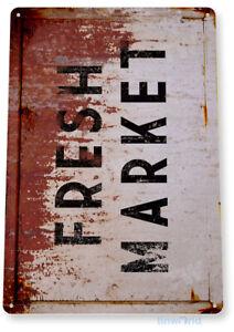 Fresh Market Sign, Rustic, Vintage Style Produce Farm Garden Tin Sign C830