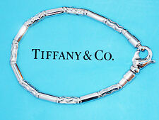Tiffany & Co Sterling Silver Etched Bead Charm Bracelet