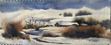 "Original Watercolor Winter Snow Drifts Long Barn Creek 4""X10"" By Pamela Wilhelm"