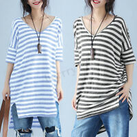 UK Stock Womens Short Sleeve Striped Tops Tee Shirt Ladies Blouse Tunic T-Shirts
