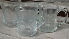 Vintage Arcoroc Arc International French Clear Glass Textured Mugs (4)