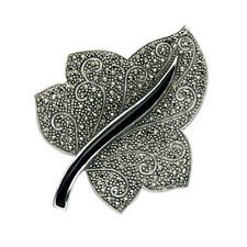 Sterling Silver Marcasite & Black Onyx Ivy Leaf Combination Pin/Pendant