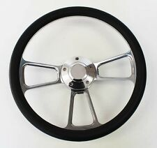"1985-1988 Ford Ranger Black and Billet Steering Wheel 14"" Polished Spokes"