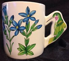 Hummingbird Coffee Mug 3D Handle Blue Phlox Flowers 12 Oz Cup PMC Made In Taiwan