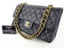e70e5ad8e94a 100%Auth CHANEL Flap Bag Chain 2.55 Caviar Black Gold Vintage Medium  Quilted 25