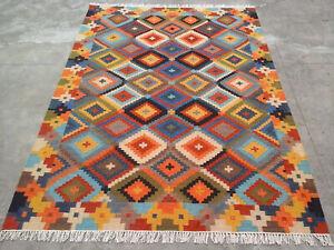 Multicolour Handmade Afghan Tribal Chobi Kilim Wool REVERSIBLE Rug 5x8 feet