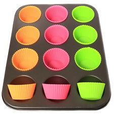 12 Muffin Cup Cake Pan + 12 custodie in silicone + ANTIADERENTE Chignon Fata Vassoio da forno ===