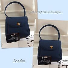 CHANEL BLUE CLASSIC VINTAGE GOLD CC EVENING TOP HANDLE BAG