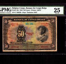 Belgian Congo 50 Francs 1943 P-16b * PMG VF 25 * Leopard *