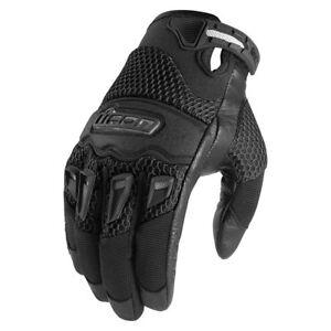 New Mens Icon Twenty-Niner/29er CE BLACK Motorcycle Street Bike Gloves ALL SIZES