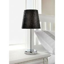 Glitter Table Lamp Sparkle Collection Metallic  Black With Chrome Silver Stand