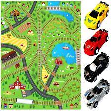 GIANT KIDS RAILWAY PLAYMAT TRAINS CARS PLAY VILLAGE FARM ROAD CARPET RUG TOY MAT