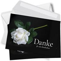 15 Trauer-Danksagung Set Karten Umschlag Dankeskarten Beerdigung Rose weiss
