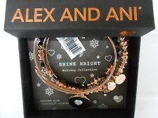 Bracelets Shiny Rose Gold New Tag Box Card Alex and Ani Joy Set of 3 Bangle