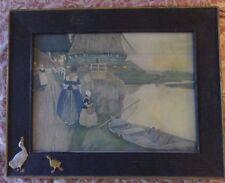 Dutch Woman & Girl Near Boat on Stream Framed Print Ducks on Frame Corner
