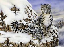 Malen nach Zahlen  weißer Leopard im Schnee Komplettset 30 cm x 40 cm Großformat