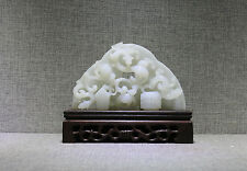 Jade figure China white color carved Chi-dragon figure Zong Huang Gui Bi
