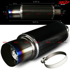 "Universal Carbon Fiber Body Exhaust Muffler 2.5"" Inlet 4"" Burnt Tip + Silencer"