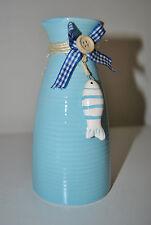 1 Blumenvase maritim Porzellan blau Schleife Knopf und Fisch 15 cm Vase Landhaus