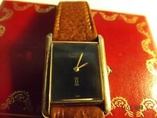 VINTAGE MUST D CARTIER TANK MANUAL WINDING ARGENT 925 PLAQUE  100% GENUINE BOXED