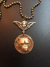 "Bulldog Boxer Dog w/Angel stamped brass pendant, vintage, 24""  ball chain"