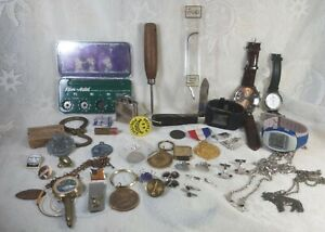 Vintage Mens Junk Drawer Lot Watches Medals Political Pins Knives Tools Jewelry