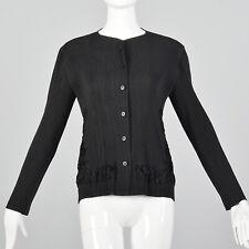 Medium Issey Miyake 1990s Pleated Cardigan Vintage Designer Black Lightweight