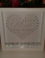 Personalised mum, mam, mom, gran, nan, nana 3D box frame, Gift with crystals.