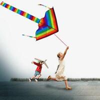 2X Colorful Rainbow Kite Long Tail Nylon Outdoor Kites Flying Toys Family Play s