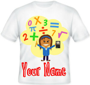 Kids BOYS GIRLS Personalised Number Genius Maths Day School T Shirt Great Gift