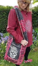 Black Stonewash Sugar Skull Shoulder Bag, Blue Pink Purple Candy Skull Slash Bag