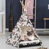 Portable Pet Teepee Tent Foldable Cat Bed Dog House Kennels Washable Cushion