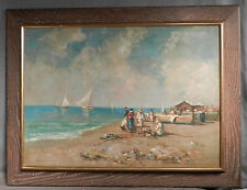 Vintage Modern European Oil Painting SALVATORI Naples Beach Figure Fishing Boat
