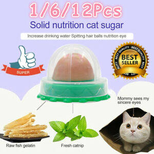 12× Cat Treats Kitty Chups' Healthy Cat Snacks Catnip Sugar Candy Energy Ball