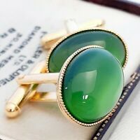 Vintage 1950s CZECH Green Moonglow Glass - Oval Gold Plated Cufflinks
