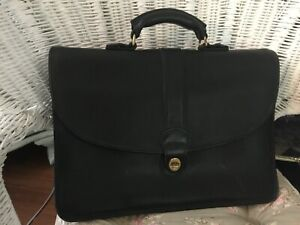 Crouch & Fitzgerald New York Vintage Black  Leather Briefcase