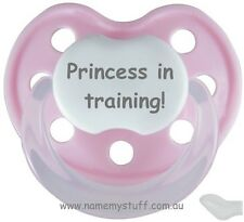 """Designer dummy pacifier soother Pink """"Princess in training!"""""""