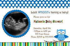 30 Owl Photo Invitations Baby Boy Shower Sonogram Picture Cards Look Whos A1