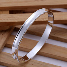 925 Sterling Silver Filled 7MM High Polished Solid Oval Bracelet Bangle Curved
