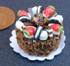 1:12 scala torta rotondo con CIOCCOLATO glassa DOLLS HOUSE miniatura Accessorio nc77