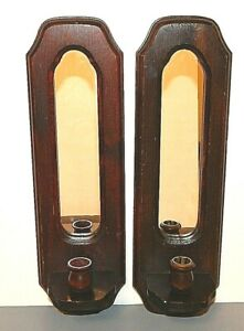 """Set / 2 Vintage Wooden Oval Mirrored Wall Candle Holder Sconces Walnut Stain 18"""""""