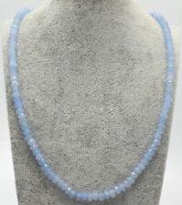 Genuine Natural 2x4mm Light Blue Jade Faceted Gems Beads Necklace 18'' JN1631