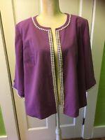 Jessica London Vintage Purple Dress Top. NWT. Pearl Detail. 1980s 1990s
