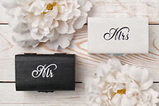 Black & White Mr Mrs Wedding Ring Box Pillow Set Ring Holder