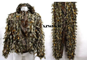 Camouflage Hunting 3D Leaf Ghillie Suit Woodland Clothing Jacket and Pants