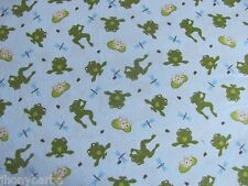 DRAGONFLIES FROGS BEES LILY PADS BUGS on BLUE FLANNEL COTTON Priced By The YARD